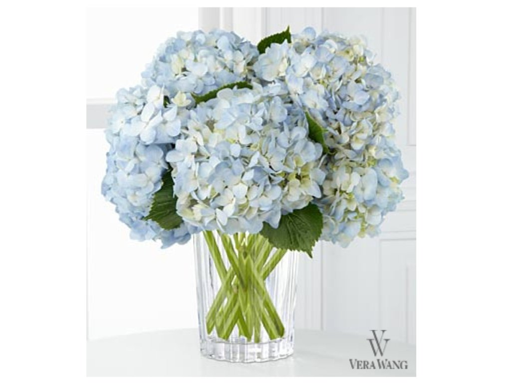 Vera Wang Blue Floral Centerpiece Perfect for Setting a Chic Hanukkah Table