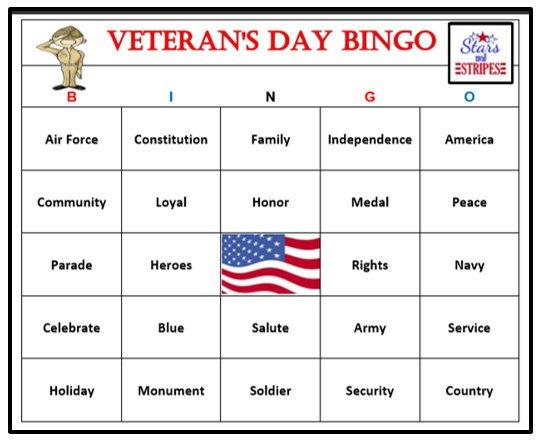 Veterans Day Bingo