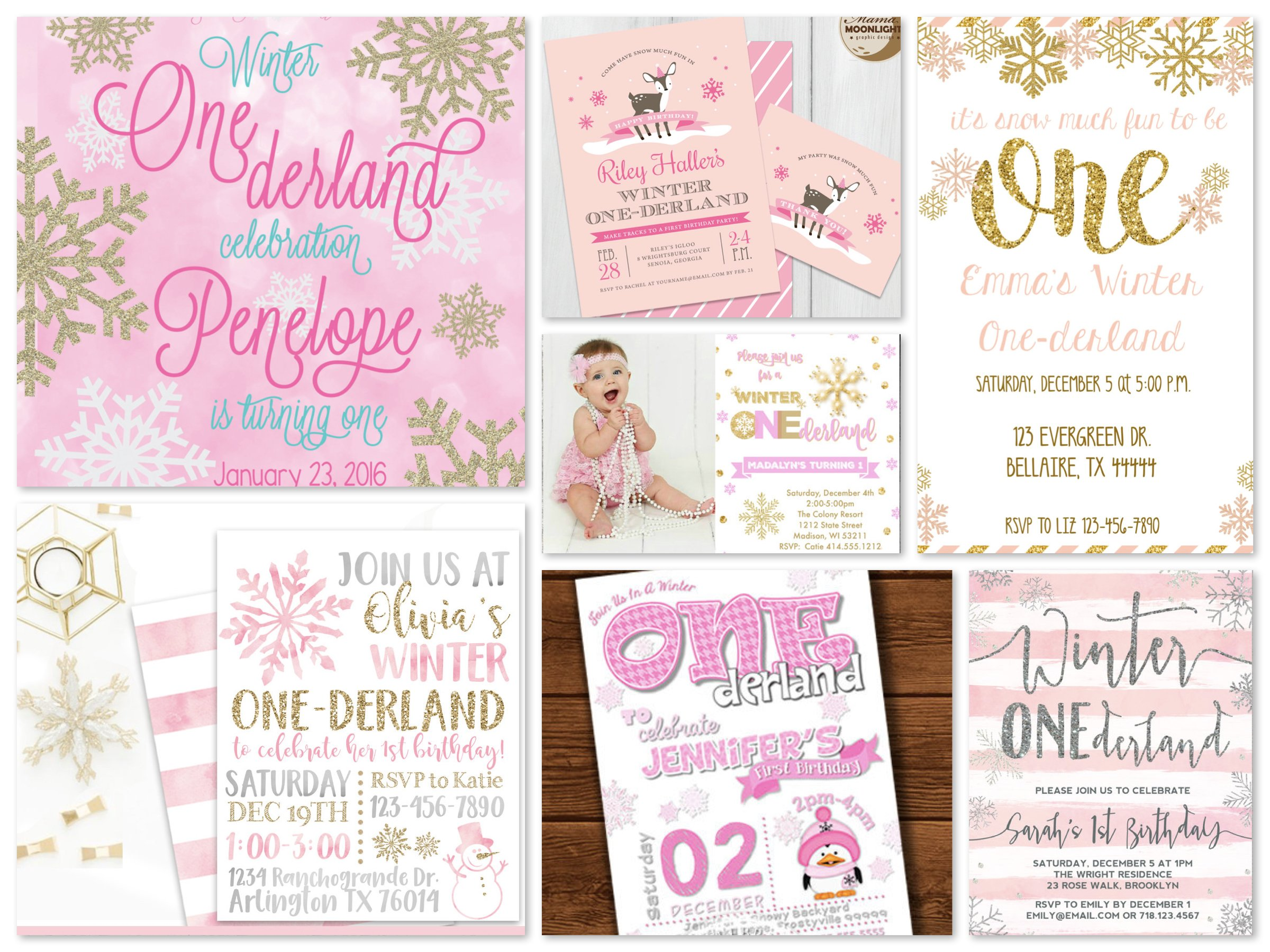 Pink Winter One-derland Printable Invitations