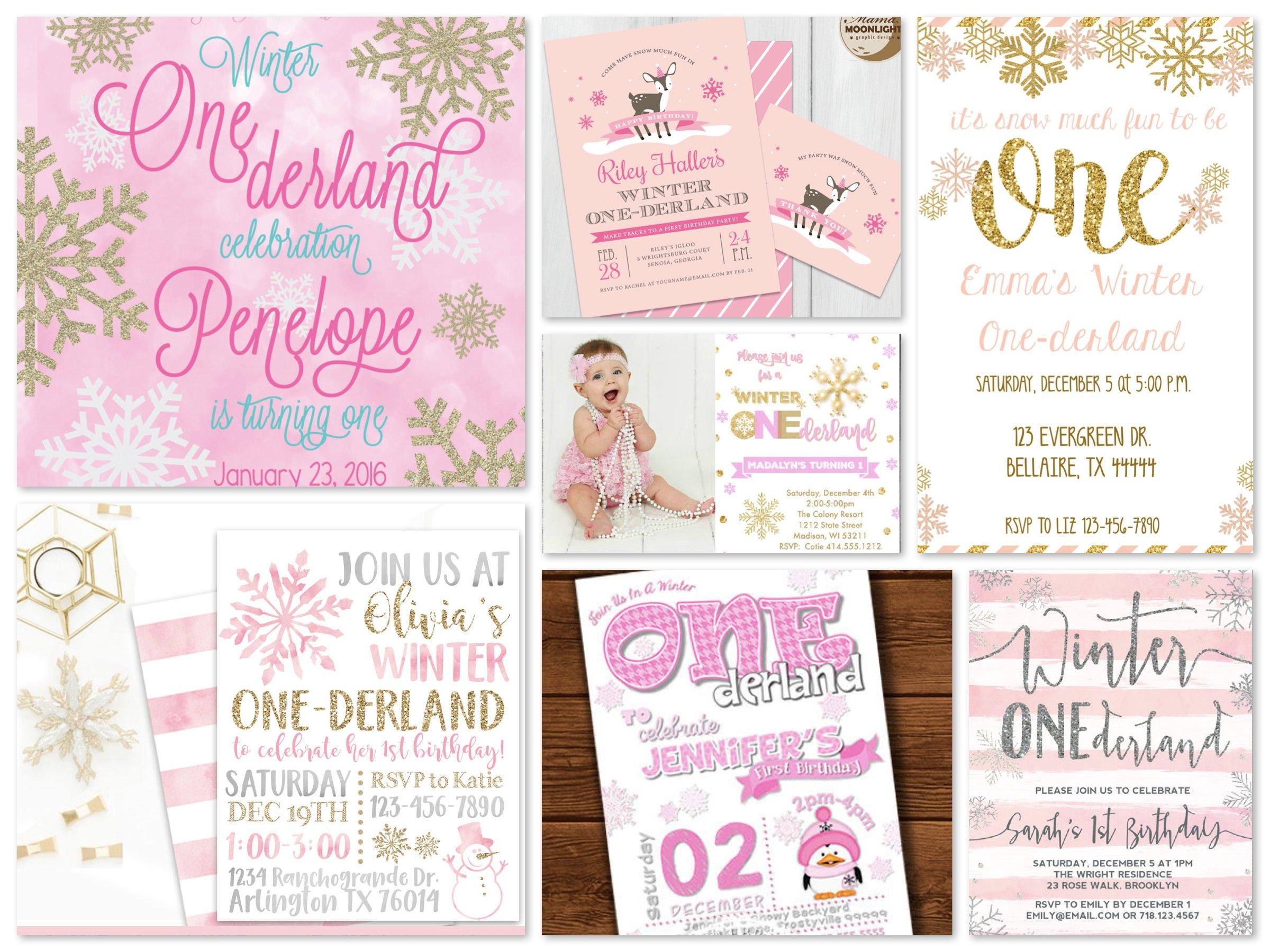 Pink Winter One-derland Printable Invitations
