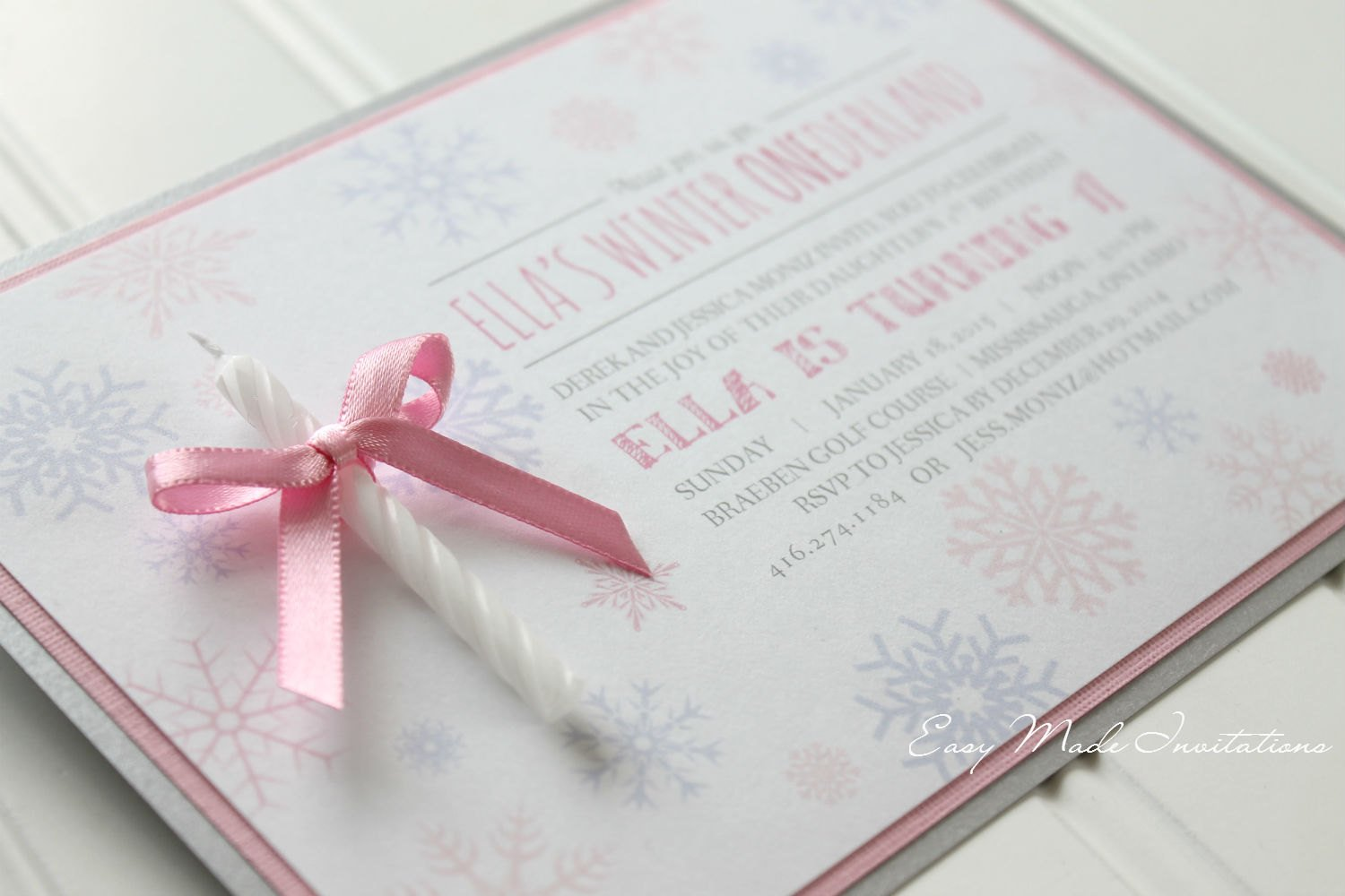 Winter One-derland Candle Invitation