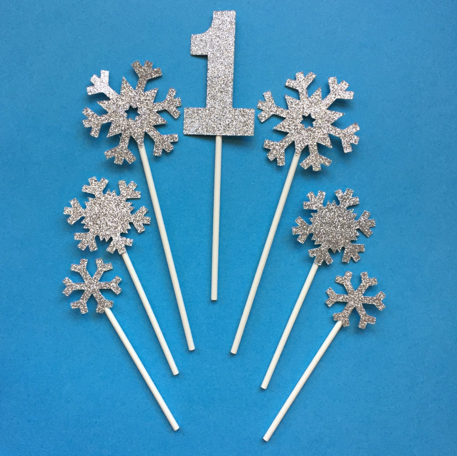 Winter One-derland Silver Snowflake Birthday Cake Topper