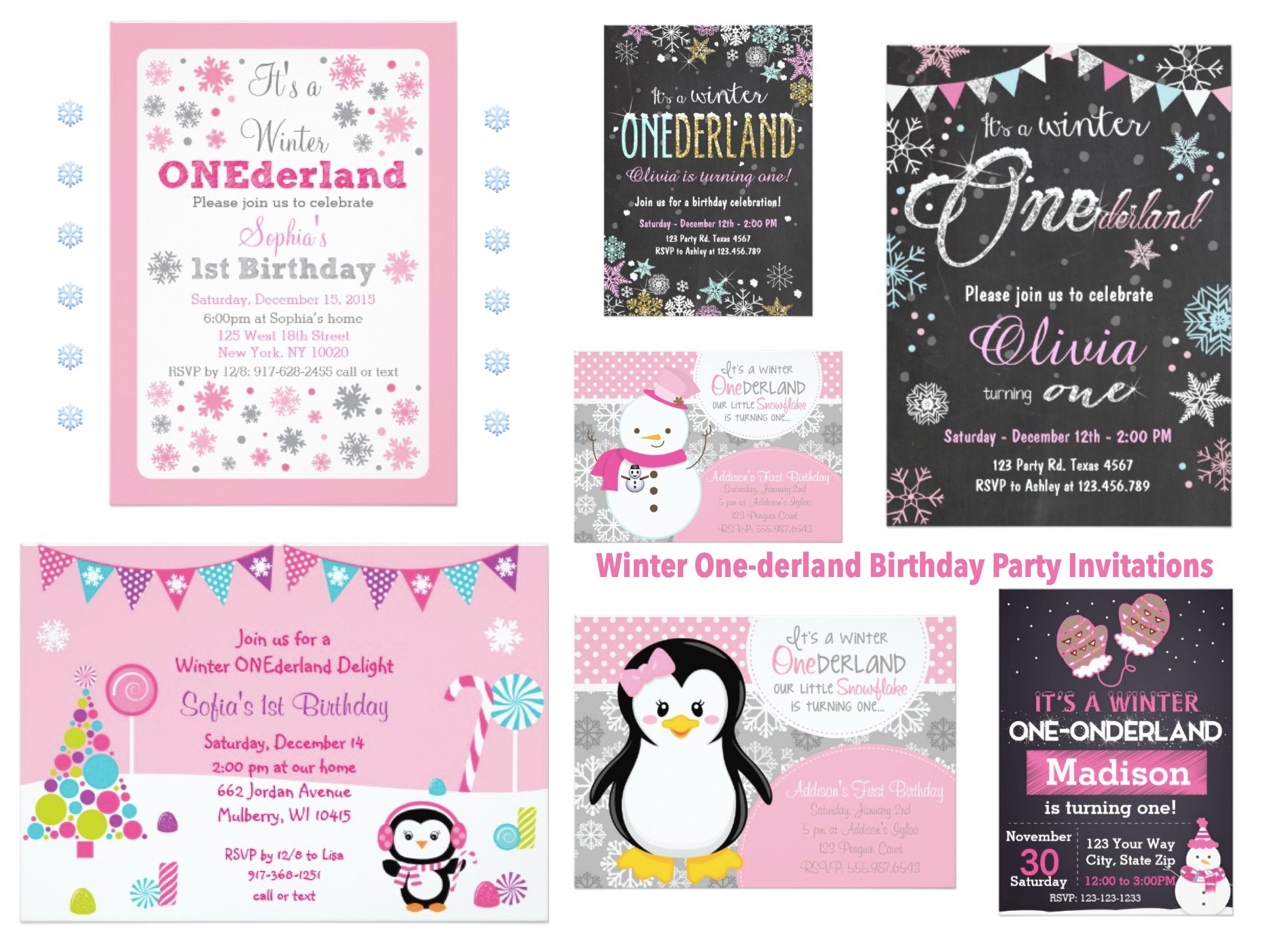 Winter One-derland Birthday Party Invitations
