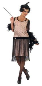 womans jazzy pink black flapper costume 1920 peach flapper costume