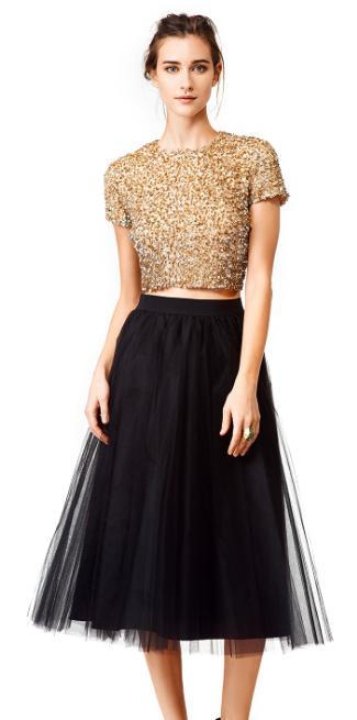 Badgley Mischka Windswept Skirt and Gold Dust Crop Top, Classy and Flirty Holiday Party Attire