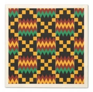 Black, Green, Red, and Yellow Kente Cloth Paper Napkins