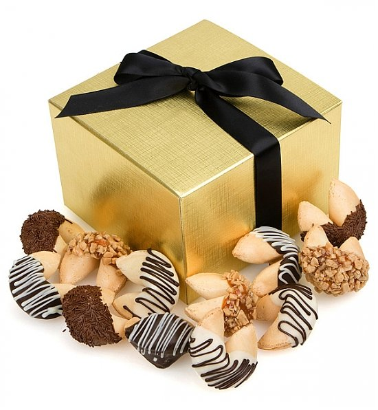Chocolate Dipped Fortune Cookies with Messages of Good Fortune