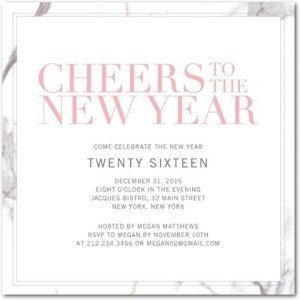 Marvelous Marble New Year Party Invitation