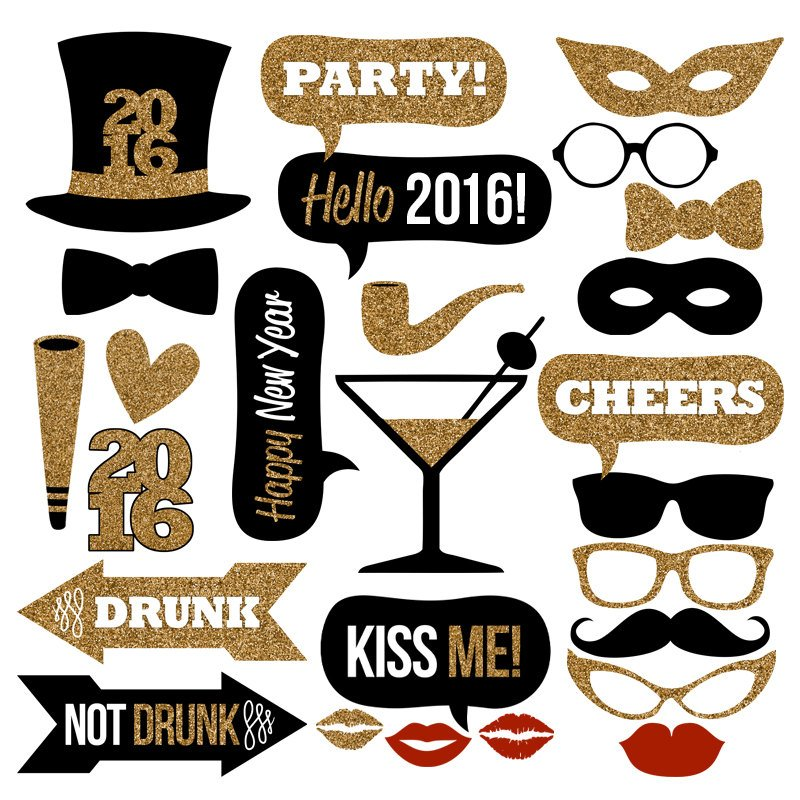 New Year's Eve Printable Photo Booth Props, printable new years party games