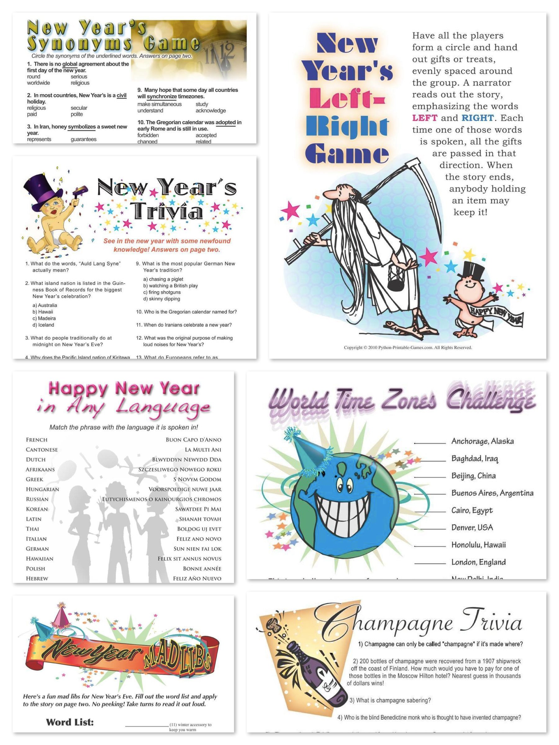 Printable New Years Eve Games, printable new years party games