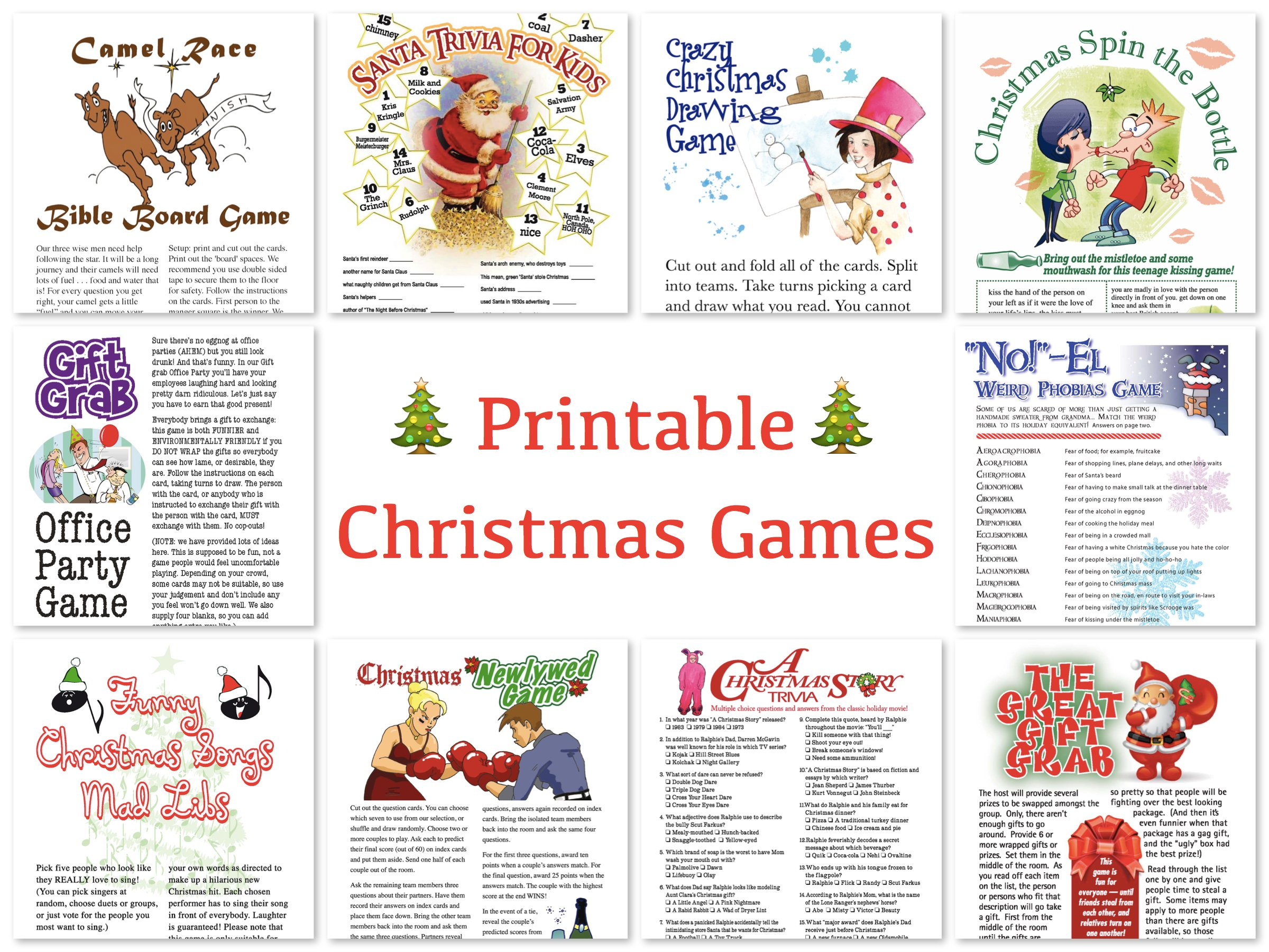 Printable Christmas Games, Printable Holiday Games