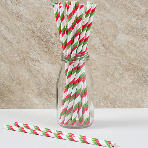 Red & Green Striped Straws