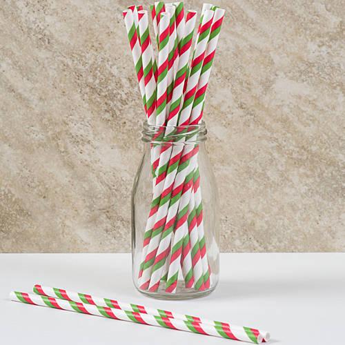 Red & Green Striped Straws