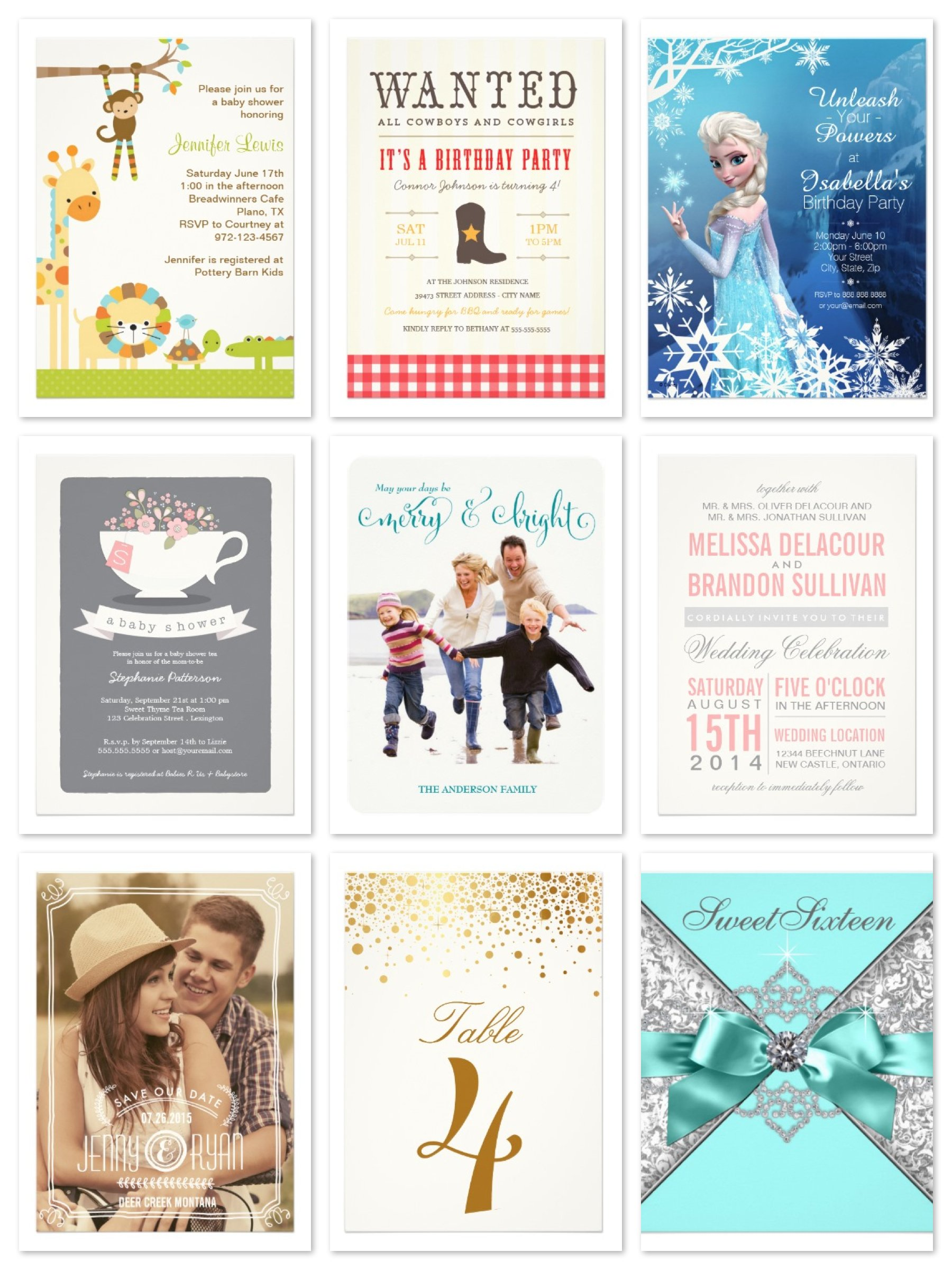 Zazzle Invitations, Cards, Table Numbers. Holiday Cards and Invitations on Sale
