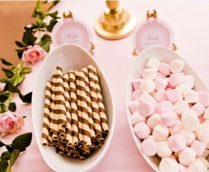 pink and gold new years party hot cocoa bar