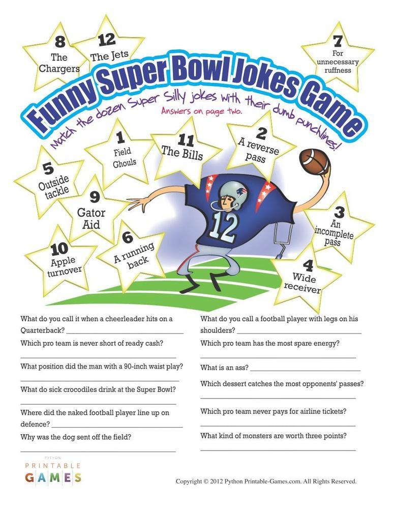 Funny Super Bowl Jokes Printable Game