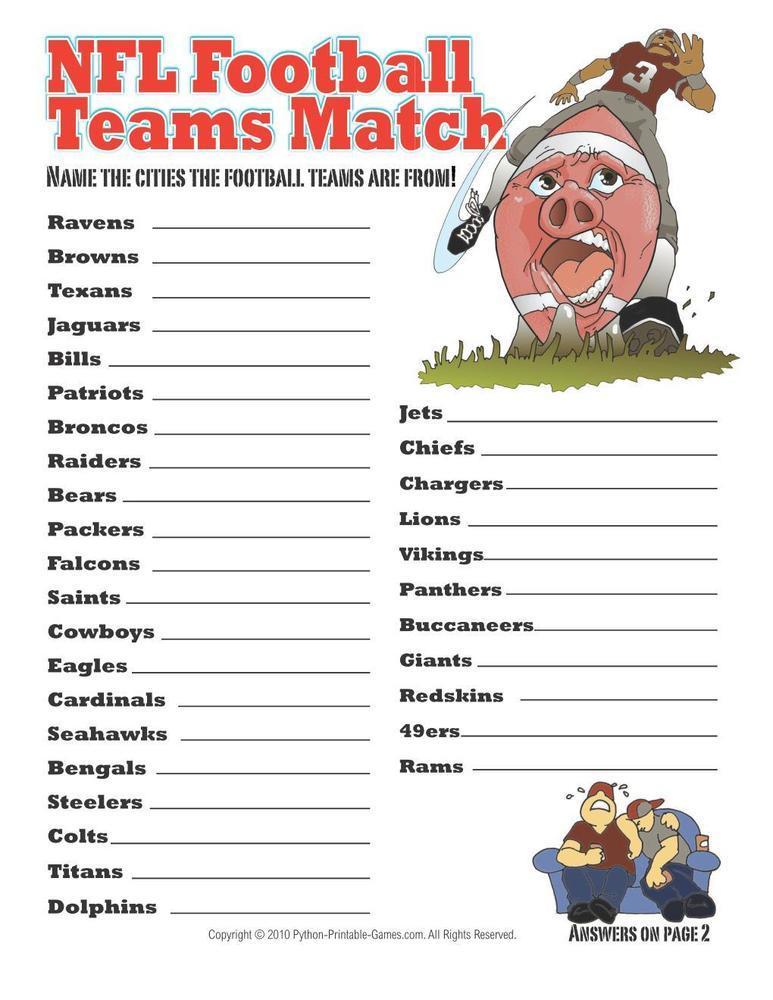 NFL Football Teams City Match