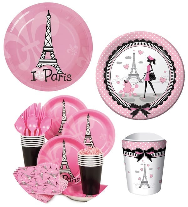 Paris Themed BIrthday Party Tableware
