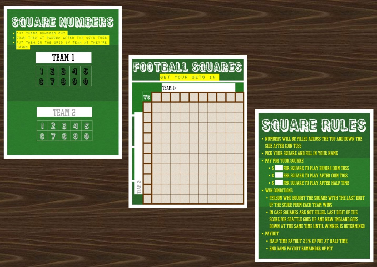 Football Grid or Squares Game