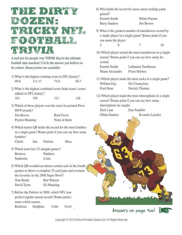 Tricky NFL Football Trivia