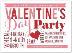 sparkling splendor valentine's day party invitations, A Mother Daughter Valentine Sleepover invitations