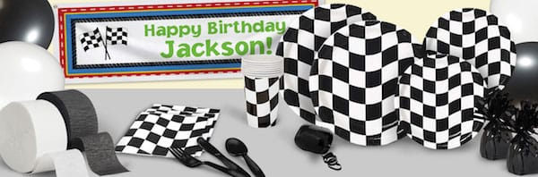 Black And White Checkered Car Racing Birthday Party Supplies