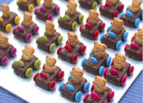 Edible Teddy Bear Race Cars