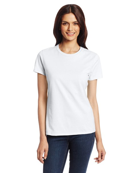 Hanes White Crew Neck Womens T-Shirt