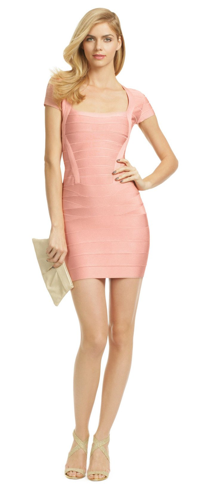 Hervé Léger Guys Kind Of Girl Dress, party pretty in pink on Valentine's Day