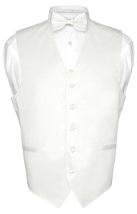 Men's Dress Vest BOWTie WHITE Color Bow Tie Set for Suit or Tuxedo