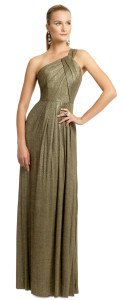 Milly Gold Metallica Pleat Gown