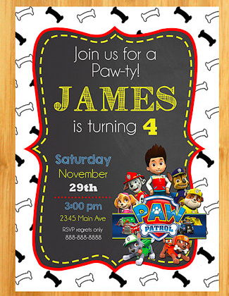 PAW Patrol Printaable Invitations