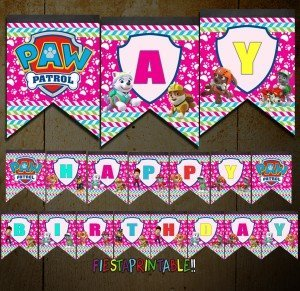 Paw Patrol Banner Girl's Birthday