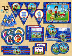 Paw Patrol Printable Birthday Decorations Package