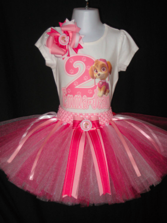 Paw Patrol Skye birthday tutu set