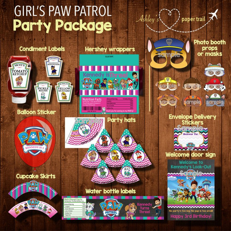 Printable Girls Paw Patrol Party Supply Package
