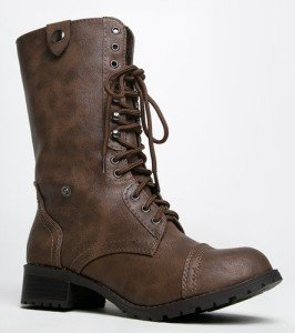 Soda ORALEE Lace Up Fold Over Military Style Combat Boot