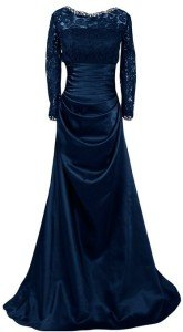 Sunvary 2015 Satin and Lace Mother of the Bride Dresses with Sleeves