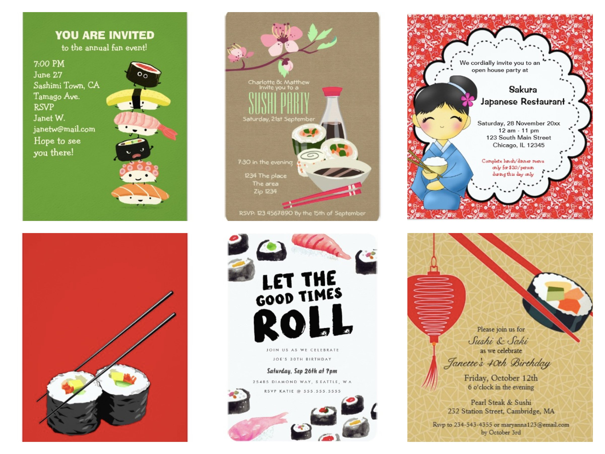 Sushi Party Invitations