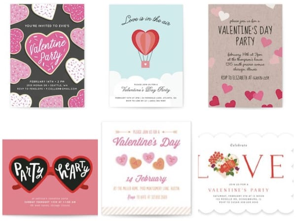 Valentines day paper invitations party love