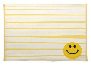 Smiley Face on Sunny Yellow Stripes Placemats