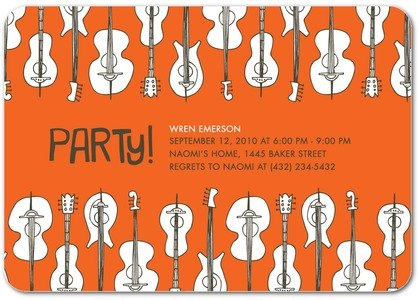 Autumn Orange Guitar Invitation