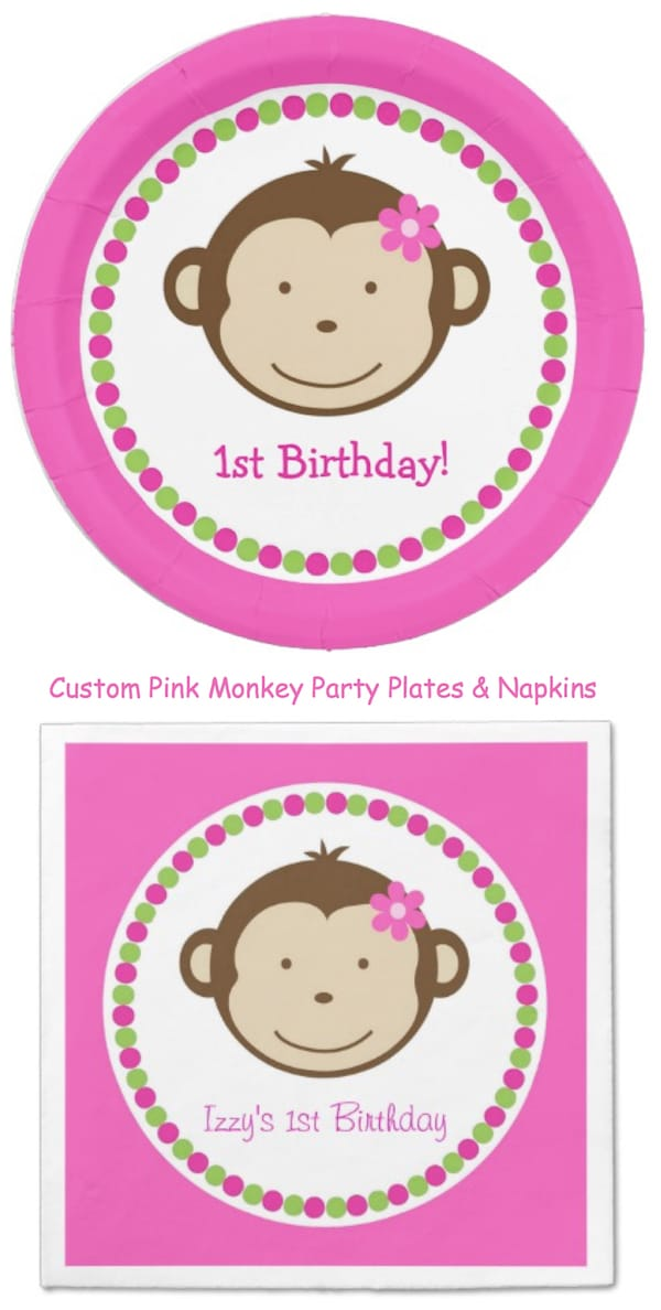 Custom Pink Monkey Party Plates and Napkins