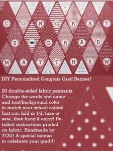 DIY Graduation Congrats Pennant Banner Fabric, Custom DIY Pennant Banner Fabric