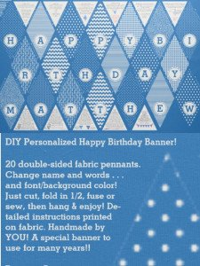 DIY Happy Birthday Personalized Pennant Banner on Fabric, Custom DIY Pennant Banner Fabric