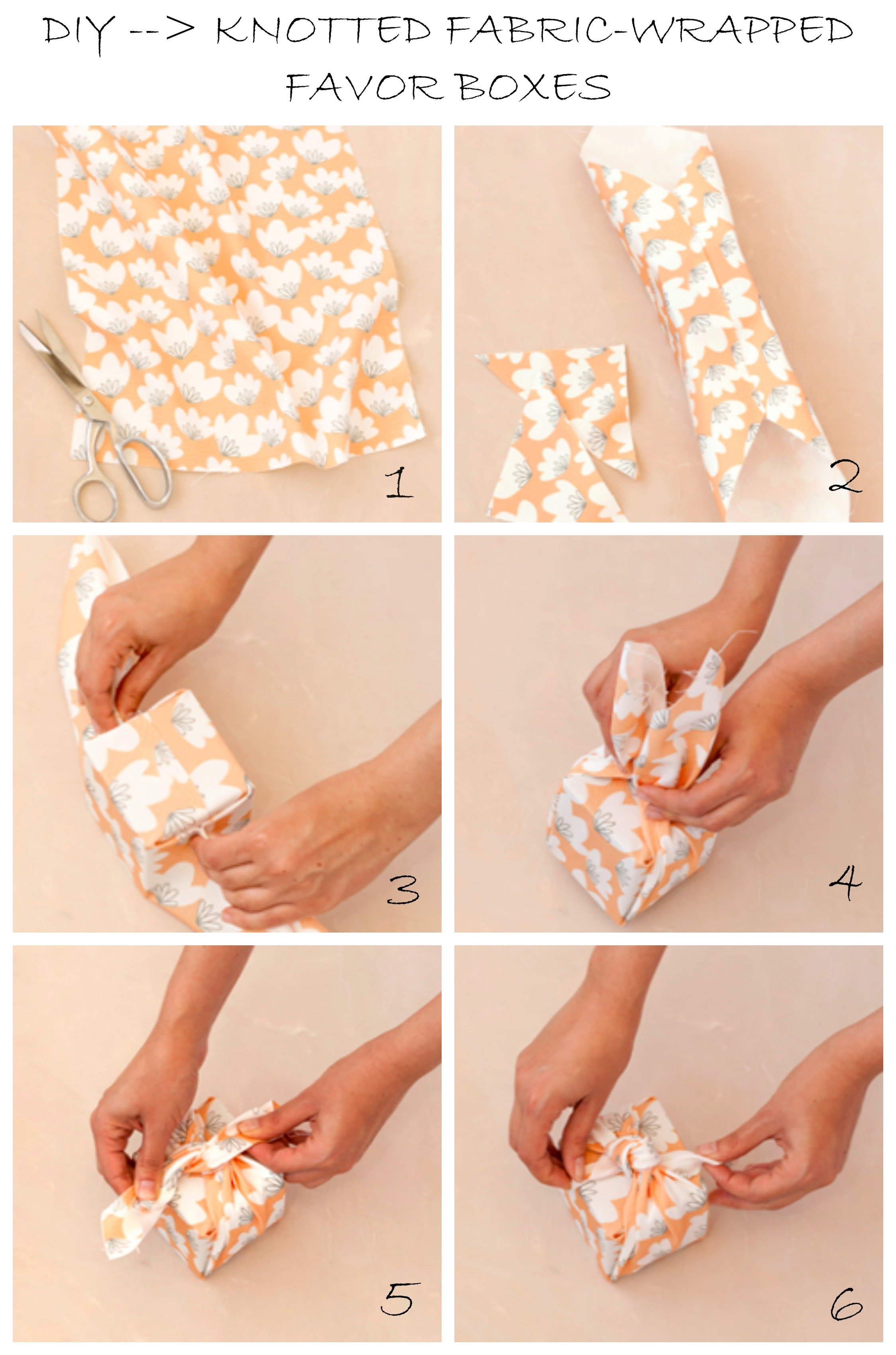 DIY KNOTTED FABRIC-WRAPPED FAVOR BOXES