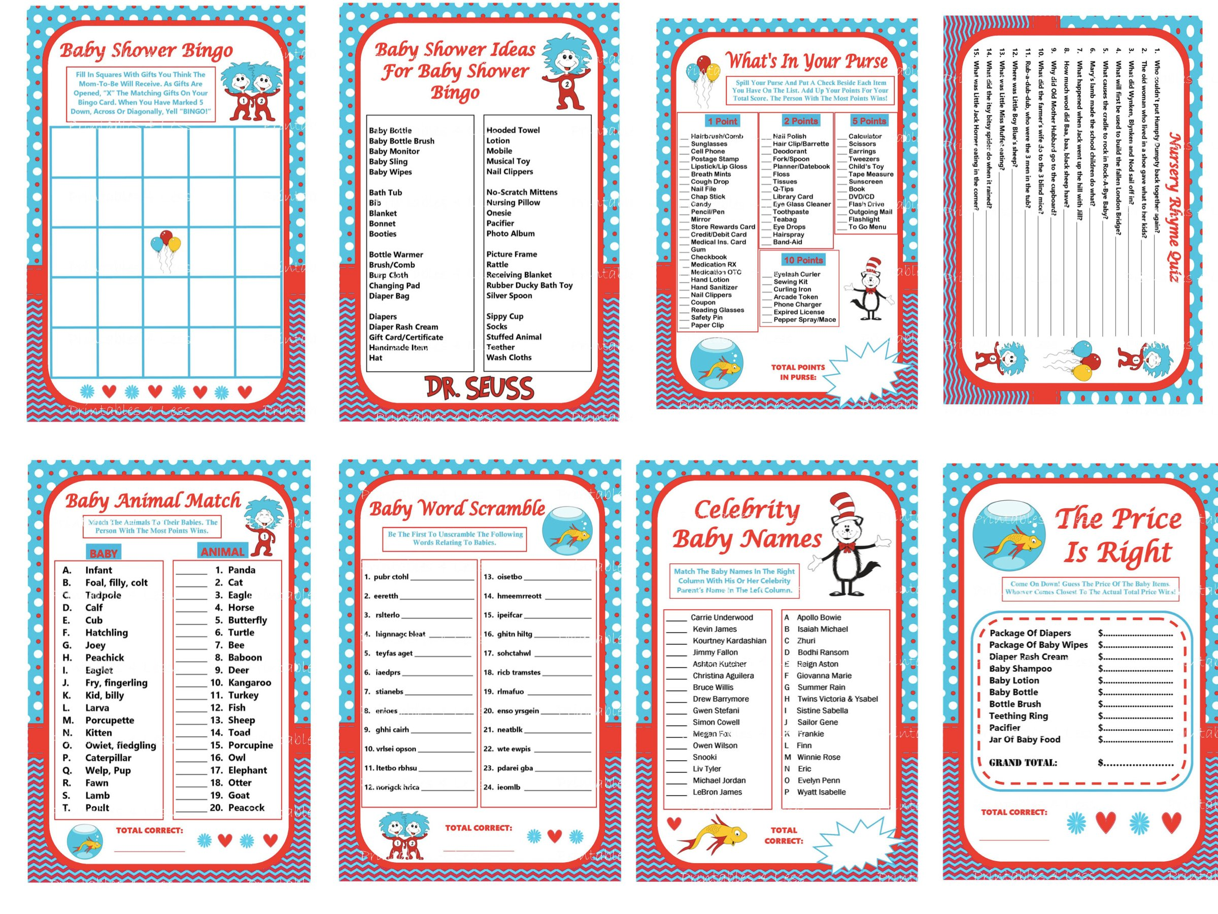Dr Seuss Baby Shower Printable Games