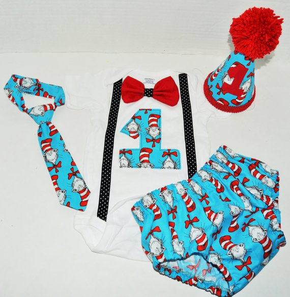 Dr Seuss Baby Boy Cake Smash Outfit