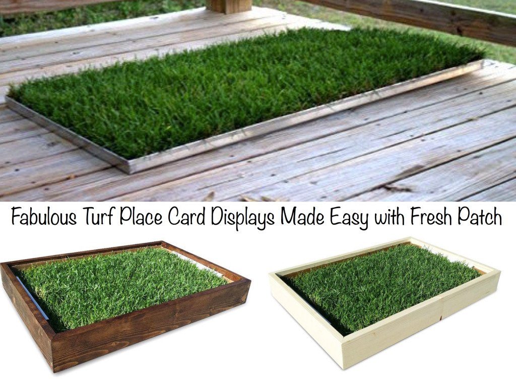 Fabulous Turf Place Card Displays Made Easy with Fresh Patch, Real Grass Place Card Holders