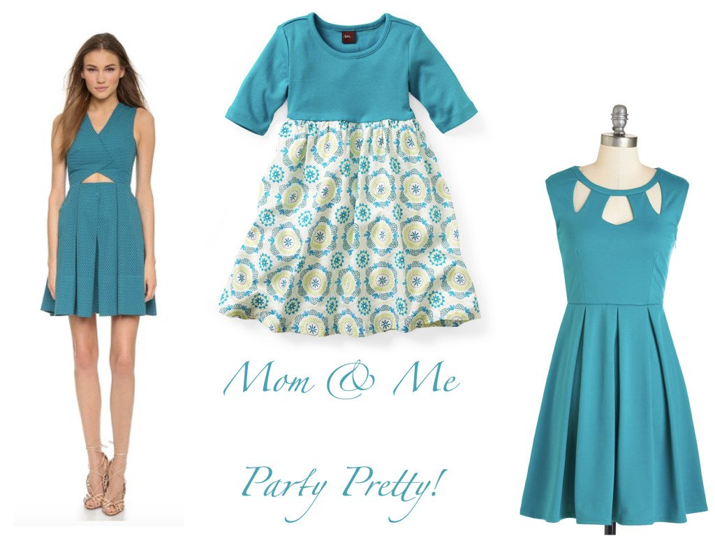 Mommy and Me Party Dresses in Turquoise, mother daughter matching party dresses